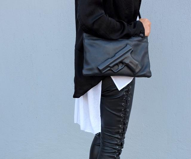 RED REIDING HOOD: On my wishlist Vlieger & Vandam guardian angel gun clutch leather pouch designer bag ola story fashion inspiration outfit details