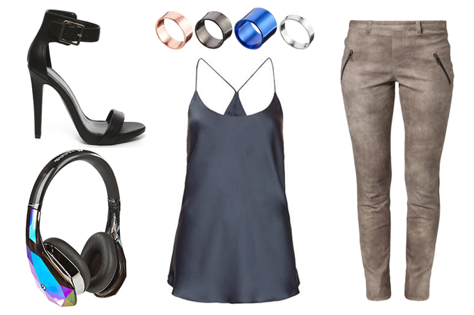 RED REIDING HOOD: Outfit inspiration would love to wear leather pants cami topshop monster diamond headphones invito