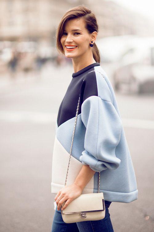 RED REIDING HOOD: Hanneli Mustaparta Stella McCartney baby blue sweater outfit model off duty look  fashion blogger