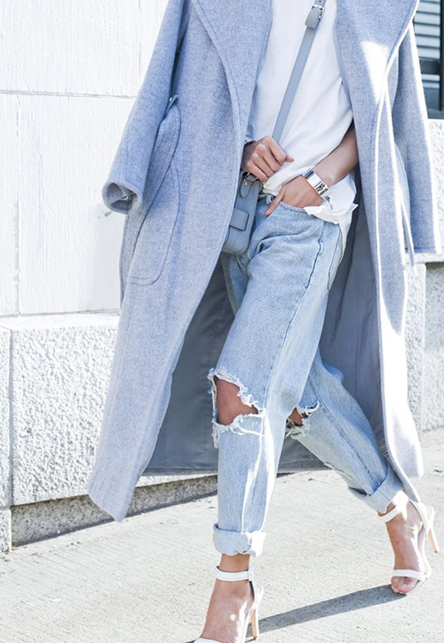 RED REIDING HOOD: Vanessa The Haute Pursuit fashion blogger wearing baby blue trench coat bound cuffs streetstyle