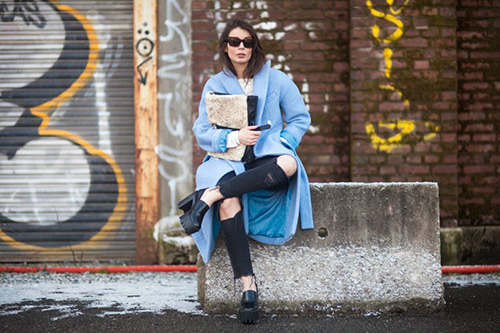 RED REIDING HOOD: Fashion blogger A portable package icey outfit wearing baby blue trench coat ripped distressed black jeans knee holes pinterest inspiration