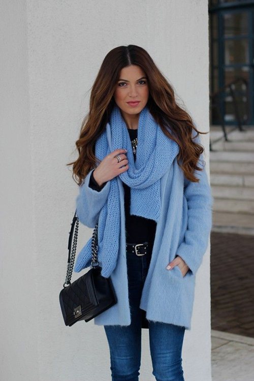 RED REIDING HOOD: Negin Mirsalehi wearing baby blue outfit mohair coat Zara scarf Chanel Boy Bag fashion blogger streetstyle model off duty