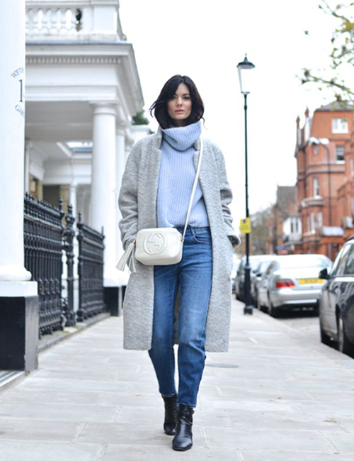 RED REIDING HOOD: The Northern Light baby blue turtleneck sweater fashion blogger Hedvig outfit streetstyle model off duty