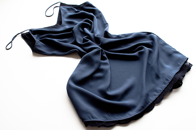 RED REIDING HOOD: Zara final sale purnchase clearance navy blue slip dress night dress lace satin black