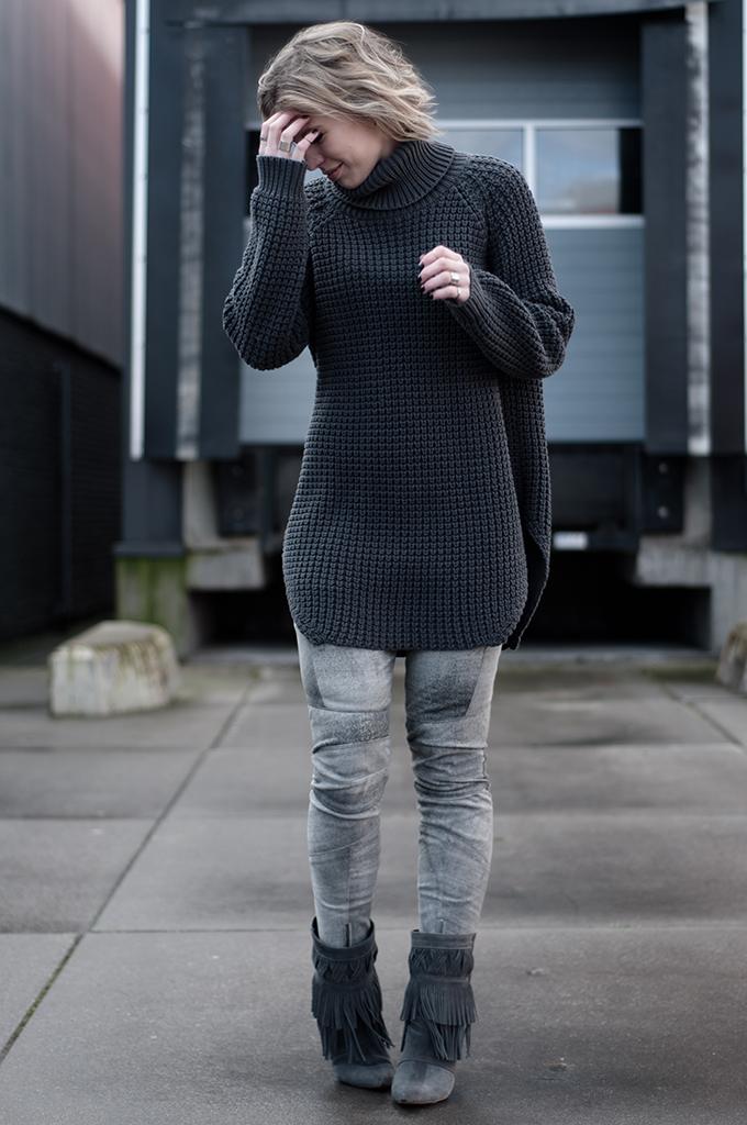 RED REIDING HOOD: grey leather pants H&M Trend Hope Grand sweater elin kling knitwear turtleneck fringe boots