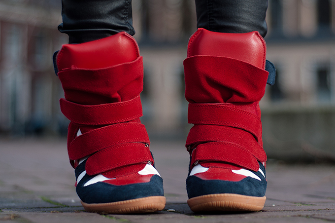 RED REIDING HOOD: Fashion blogger wearing Isabel Marant Bekett wedge sneakers designer shoes outfit details model off duty