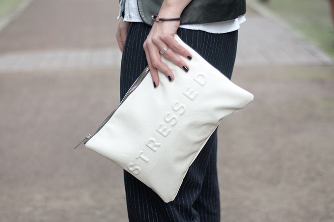 RED REIDING HOOD: Zara stressed but well dressed clutch white streetstyle
