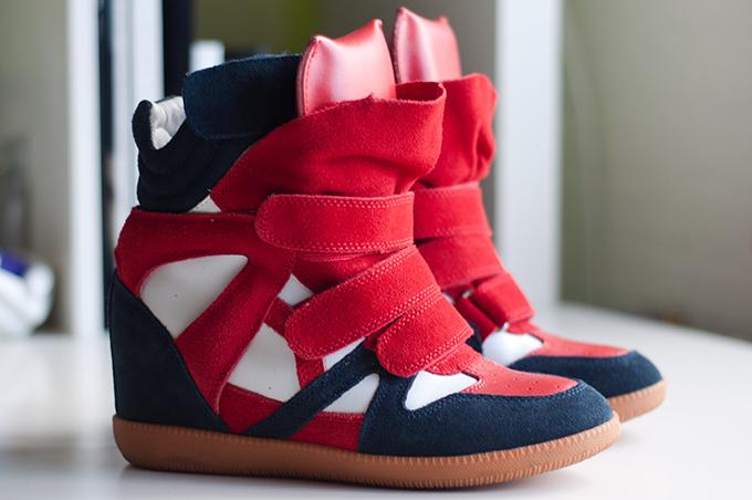 RED REIDING HOOD: Isabel marant beckett original wedge sneakers suede red white blue black KO shoes