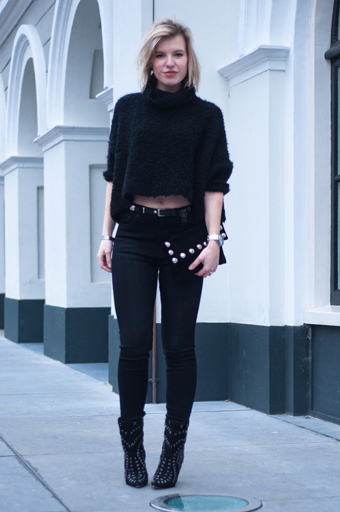 RED REIDING HOOD: All black everything outfit crop top fluffy jumper high waisted jeans sam edelman melina model off duty streetstyle