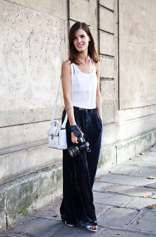 RED REIDING HOOD: wide pants inspiration blue velvet slouchy trousers fashion blogger outfit streetstyle