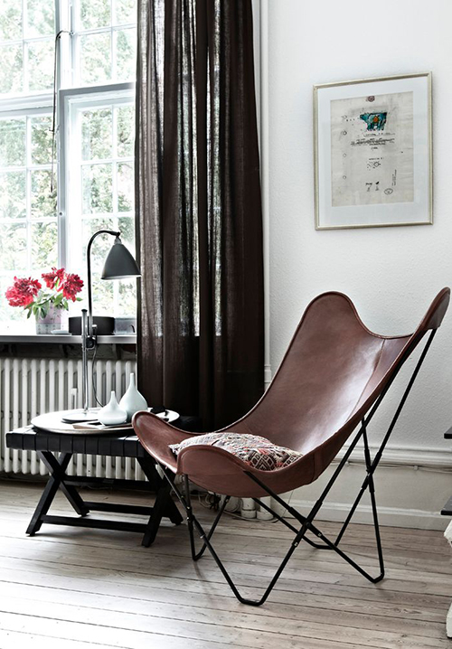 RED REIDING HOOD: Brown leather lounge chair scandinavian home decoration interior inspiration
