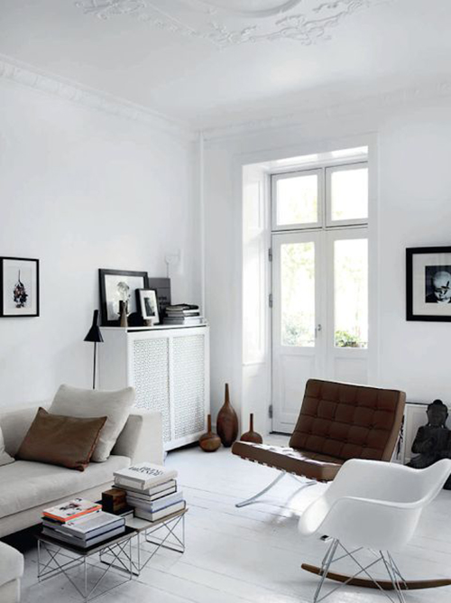 RED REIDING HOOD: All white interior brown leather sofa chair pinterest inspiration home deco
