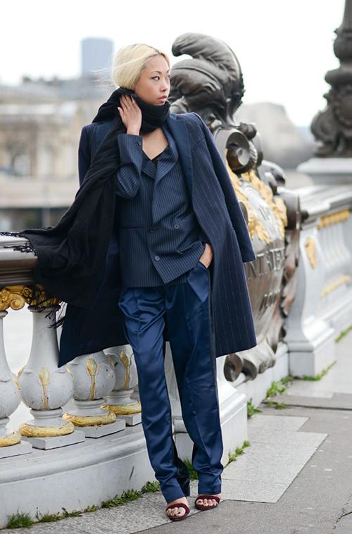 RED REIDING HOOD: The Haute Pursuit pinstripe silk slouchy pants wide pants suit trousers fashion blogger inspiration pinterest