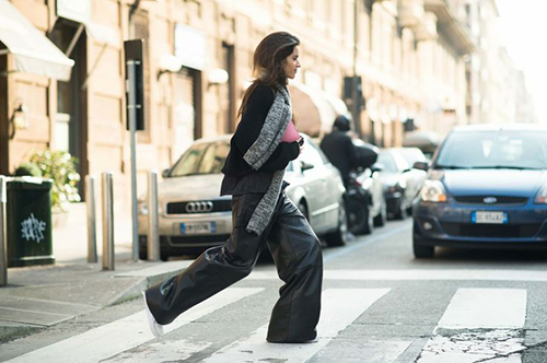 RED REIDING HOOD: Leather slouchy pants all black everything fashion inspiration wide pants