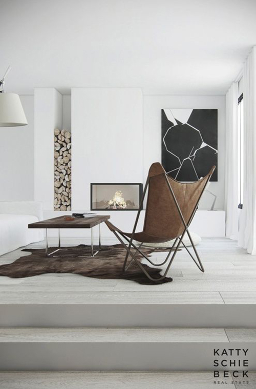 RED REIDING HOOD: Home deco brown leather chair cow skin rug interior living room inspiration scandinavian style