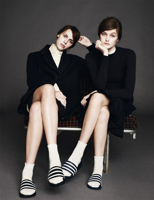 RED REIDING HOOD: Vogue magazine editorial look models wearing Adidas Adilette slides with socks style