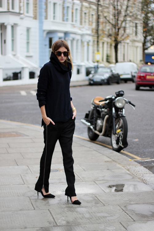 RED REIDING HOOD: All black everything outfit Camille over the rainbow slouchy pants wide trousers nowhere turtleneck streetstyle
