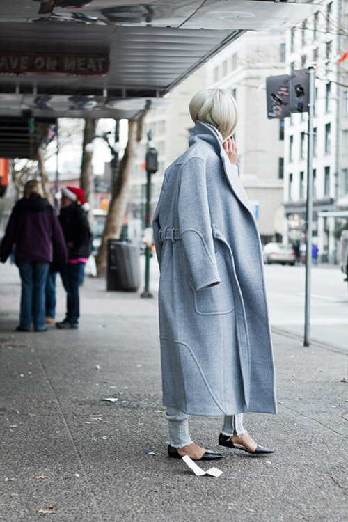 RED REIDING HOOD: The Haute Pursuit wearing baby blue long coat fashion blogger outfit streetstyle