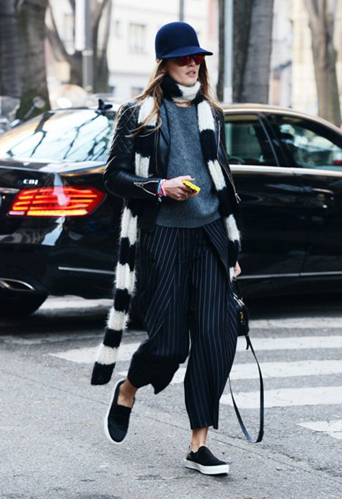 RED REIDING HOOD: Winter layers inspiration fashion blogger outfit pinstripe suit trousers streetstyle