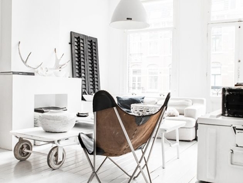 RED REIDING HOOD: White interior brown details brown leather lounge chair pinterest home deco inspiration