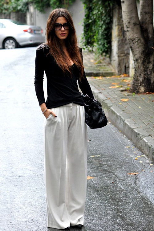 RED REIDING HOOD: White wide trousers silk suit pants slouchy streetstyle fashion blogger outfit inspiration