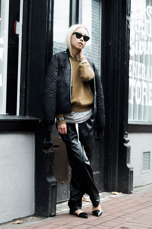 RED REIDING HOOD: Wide slouchy leather suit pants The Haute Pursuit outfit fashion blogger pinterest inspiration