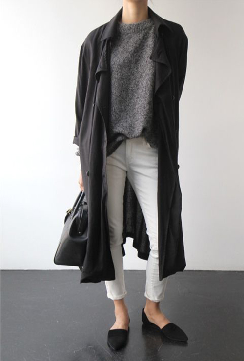 RED REIDING HOOD: Black oversized long trench coat H&M streetstyle fashion blogger outfit