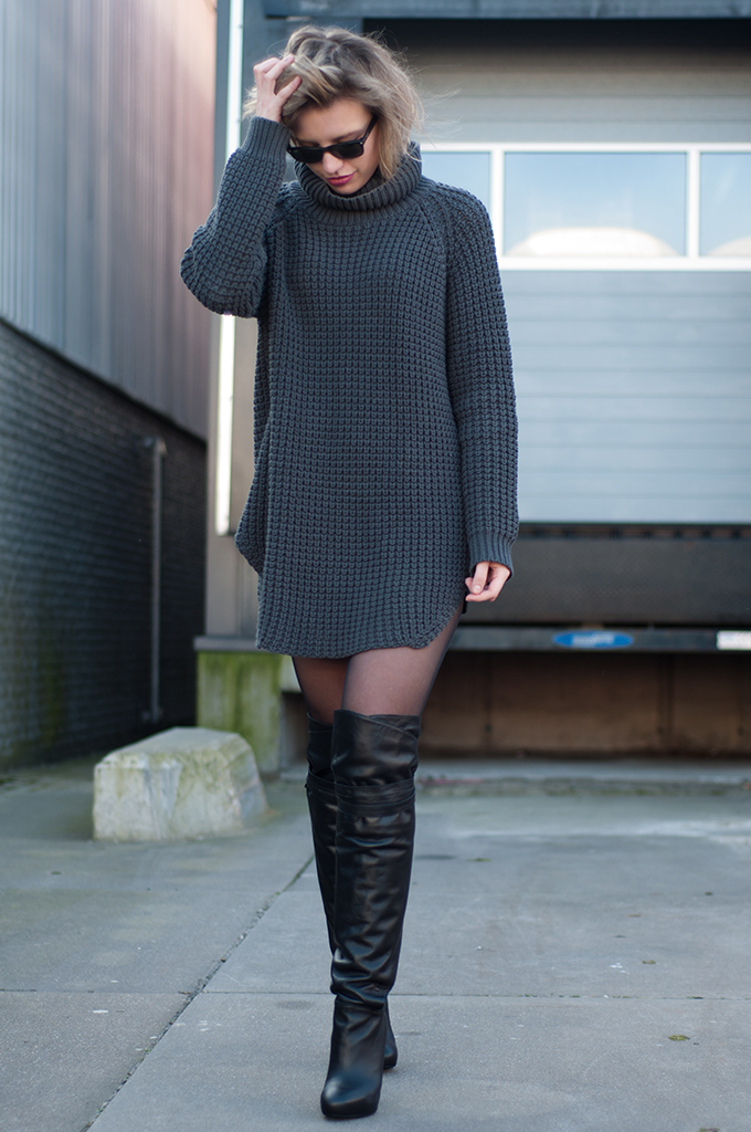 RED REIDING HOOD: Fashion blogger Elin Kling wearing Hope Grand sweater dress turtleneck over the knee boots & Other Stories