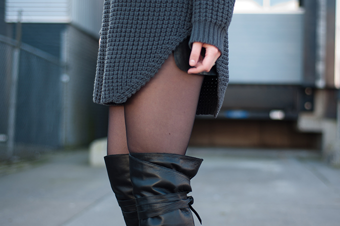 RED REIDING HOOD: Fashion blogger outfit details grey Hope Grand Sweater over the knee boots streetstyle