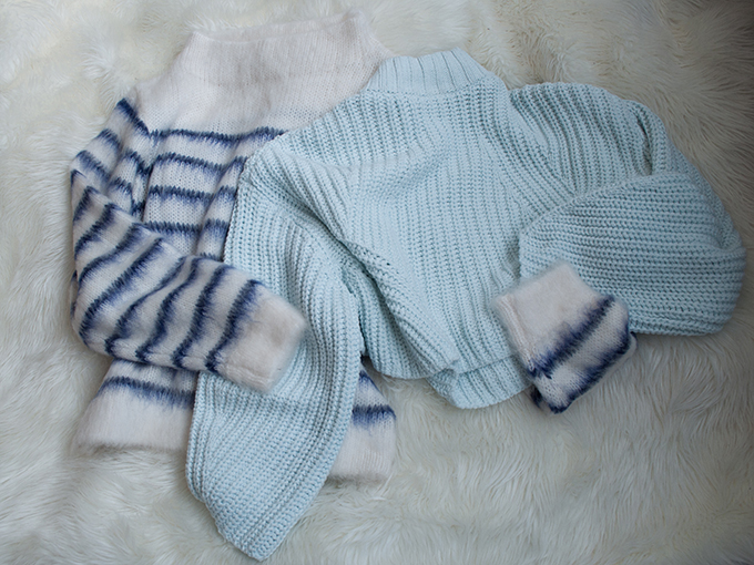 RED REIDING HOOD: H&M Trend minty cropped turtleneck sweater striped mohair jumper sale clearance