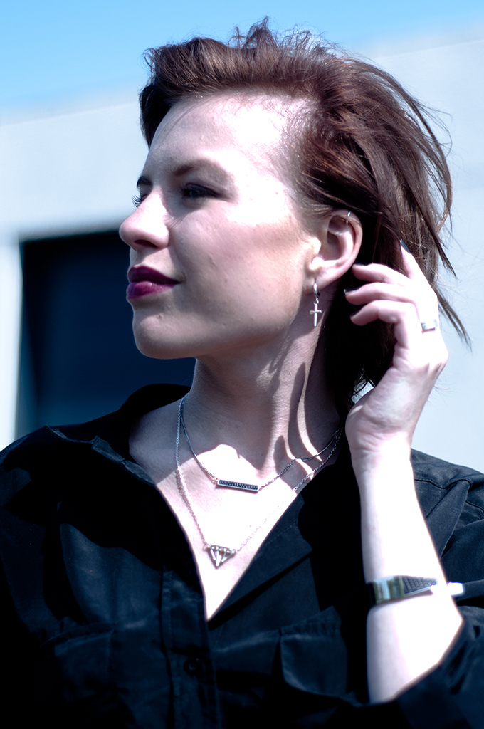 RED REIDING HOOD: Fashion blogger helix piercing cross earring diamond necklace bandhu tiny bare necklace