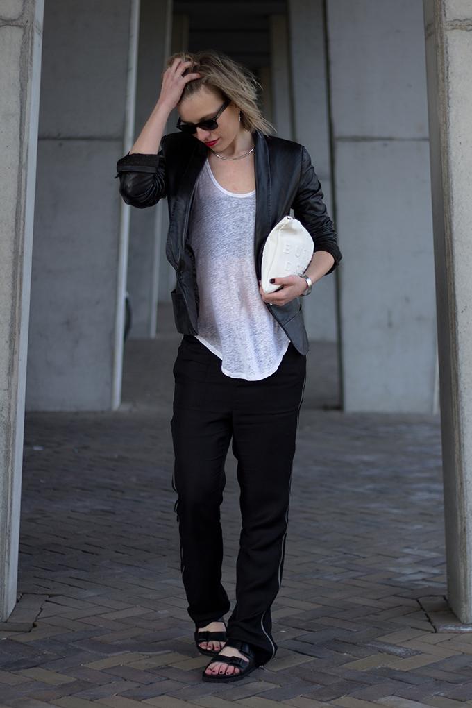 RED REIDING HOOD: Fashion blogger wearing Nowhere Salomon pants Birkenstock Monterey slides streetstyle leather jacket