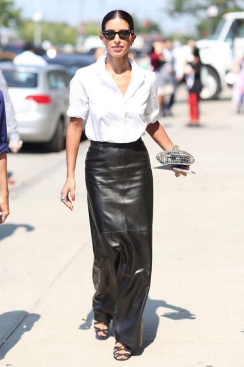 RED REIDING HOOD: Fashion blogger wearing long leather maxi skirt pinterest style inspiration