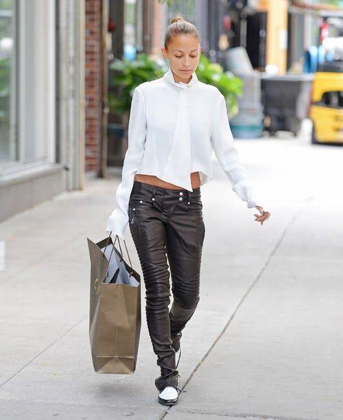 RED REIDING HOOD: streetstyle Nicole Richie wearing leather biker pants Balmain Pinterest fashion inspiration