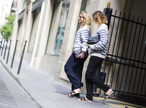 RED REIDING HOOD: Blue stirped mohair jumper turtleneck wide legged pants slides fashion blogger streetstyle Pinterest