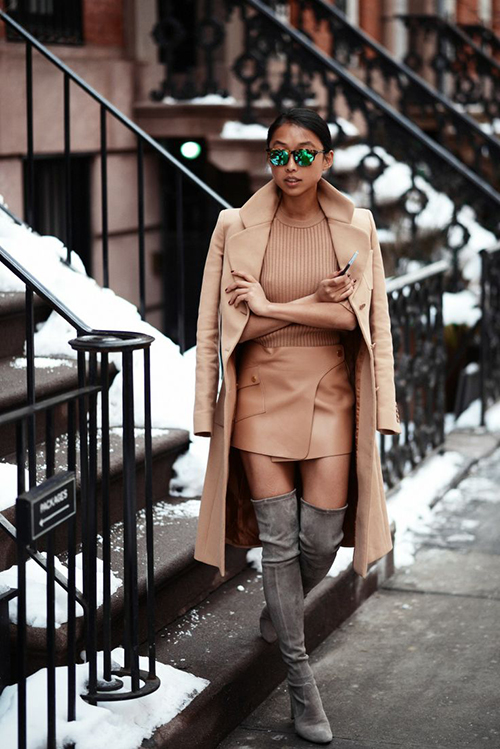RED REIDING HOOD: Fashion blogger wearing nude leather skirt beige trench over the knee boots outfit inspiration Pinterest