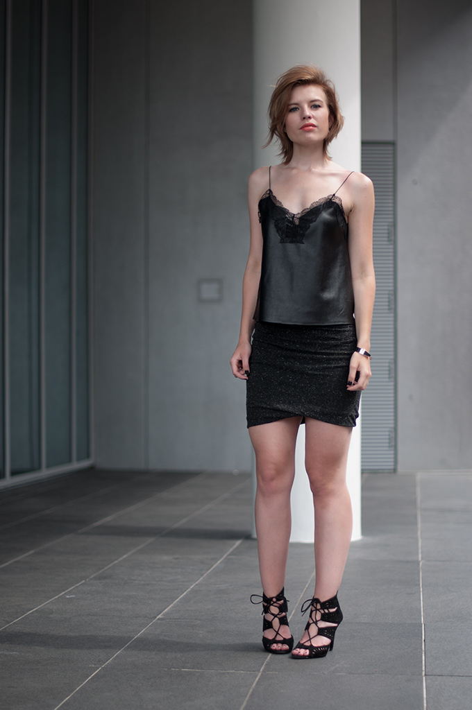 RED REIDING HOOD: Fashion blogger wearing leather lace lingerie top streetstyle alexander wang wrap skirt modstrom outfit