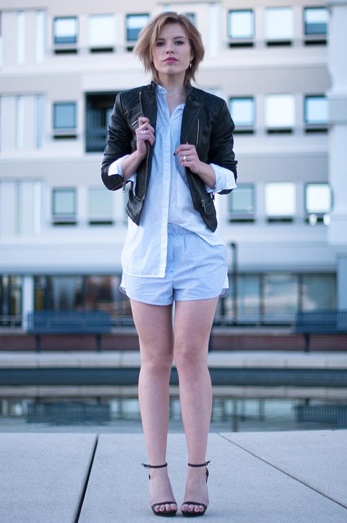 RED REIDING HOOD: Fashion blogger wearing leather biker jacket Alexander Wang pyjama shorts streetstyle