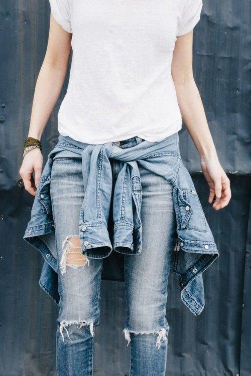 RED REIDING HOOD: www.redreidinghood.com denim jacket tied around the waist trend streetstyle double denim on denim all jeans look