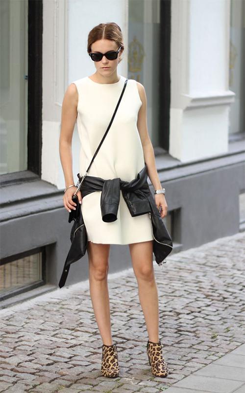 RED REIDING HOOD: www.redreidinghood.com leather jacket tied around the waist trend streetstyle white dress