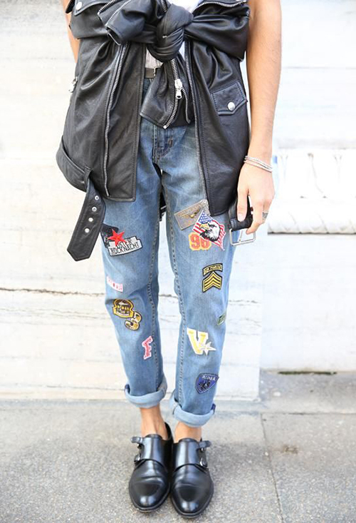 RED REIDING HOOD: www.redreidinghood.com leather jacket tied around the waist trend streetstyle patchwork badge jeans rock chic outfit
