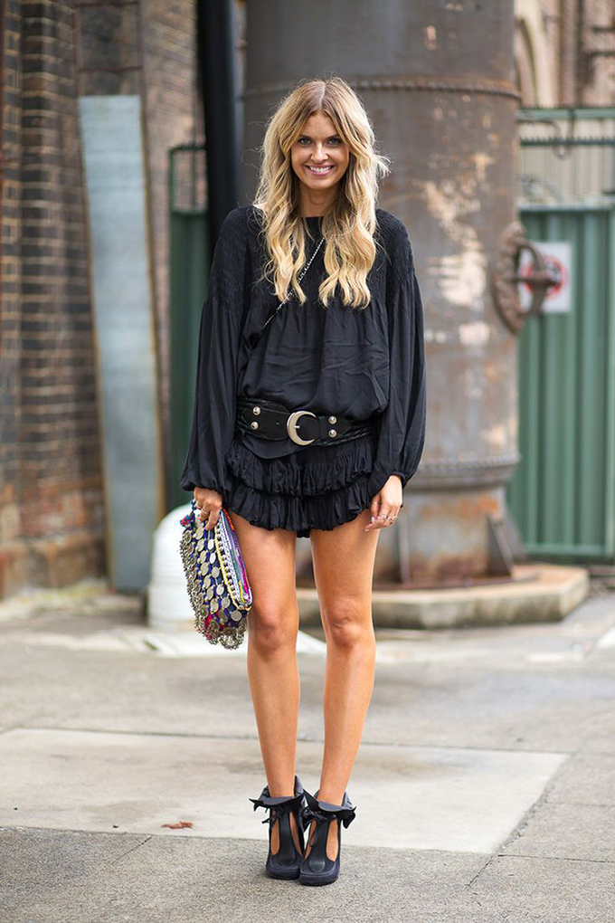RED REIDING HOOD: Elle Ferguson wearing all black everything outfit boho chic Isabel Marant streetstyle They All Hate Us
