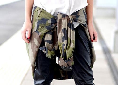 RED REIDING HOOD: www.redreidinghood.com army camo jacket tied around the waist trend slouchy leather pants streetstyle baggy leather joggers
