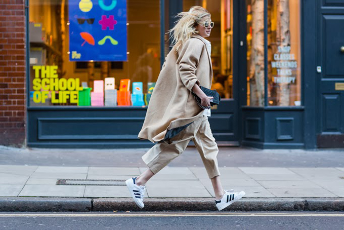 RED REIDING HOOD: Fashion blogger Camille Over The Rainbow wearing Joseph Culottes streetstyle Adidas Superstar sneakers model off duty look