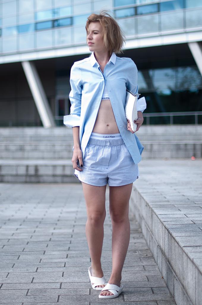 RED REIDING HOOD: Fashion blogger wearing Alexander Wang pyjama suit streetstyle Calvin Klein underwear My Calvins model off duty look slides