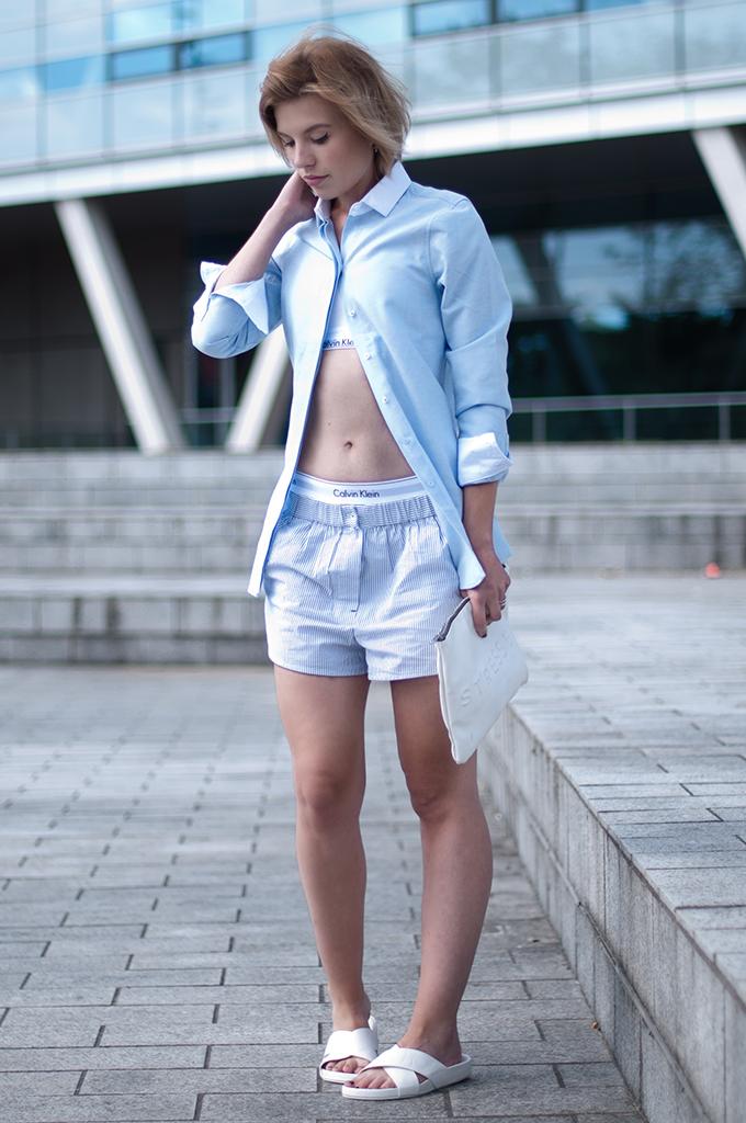 RED REIDING HOOD: Fashion blogger wearing Calvin Klein modern cotton underwear My Calvins pyjama suit Alexander Wang slides Nelly