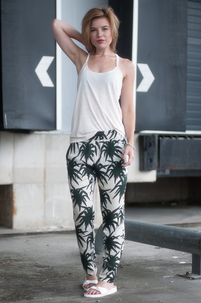 RED REIDING HOOD: Fashion blogger wearing slouchy pants and Birkenstocks streetstyle Ganni palm trousers camisole tank