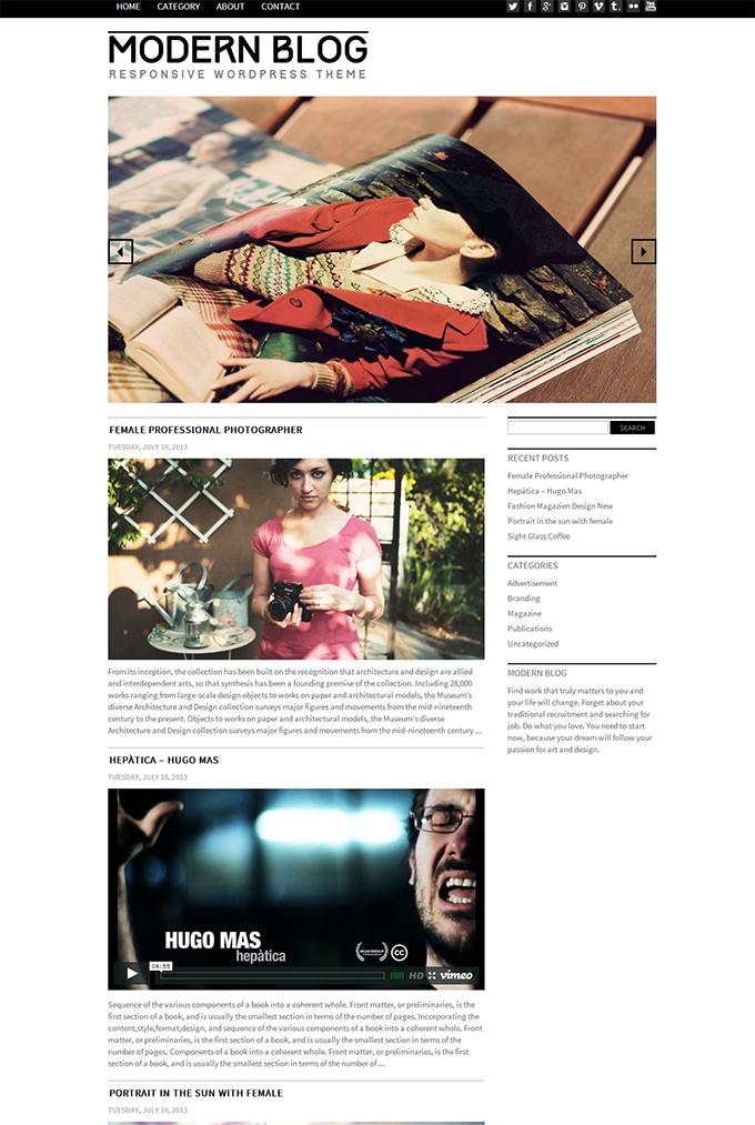 Modern Blog Theme Responsive WordPress
