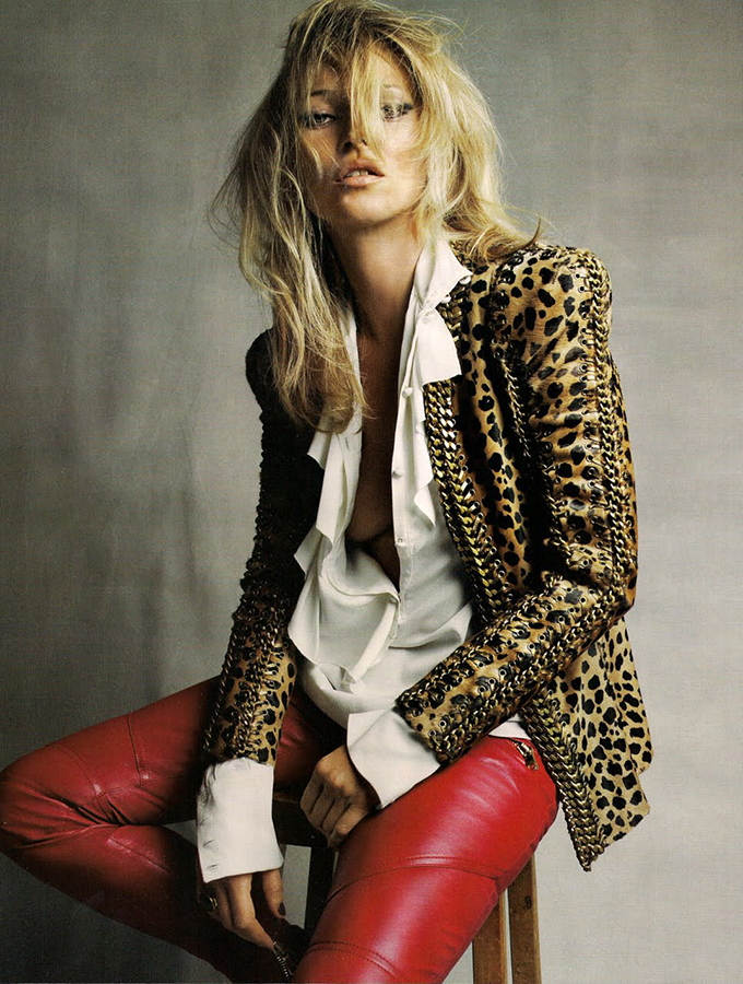 RED REIDING HOOD: Kate Moss wearing red leather pants leopard jacket model off duty look fashion outfit