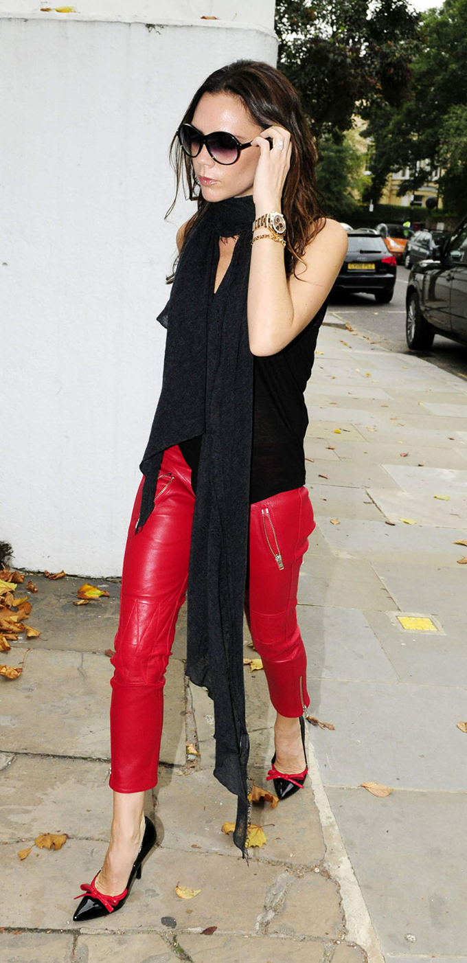 RED REIDING HOOD: Celebrity streetstyle Victoria Beckham wearing red leather pants model off duty look